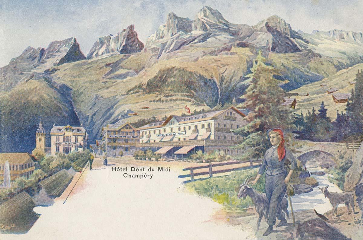 Hôtel Dent du Midi - Champéry. Carte datée de 1901