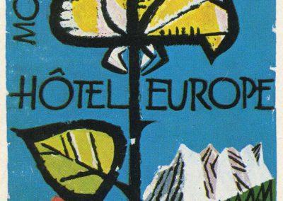 Etiquette de bagage. Hôtel Europe à Montreux (Suisse)