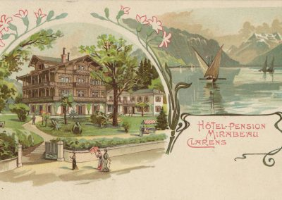 Hôtel - Pension Mirabeau, Clarens. © Müller & Trüb, Lausanne, carte datée de 1903