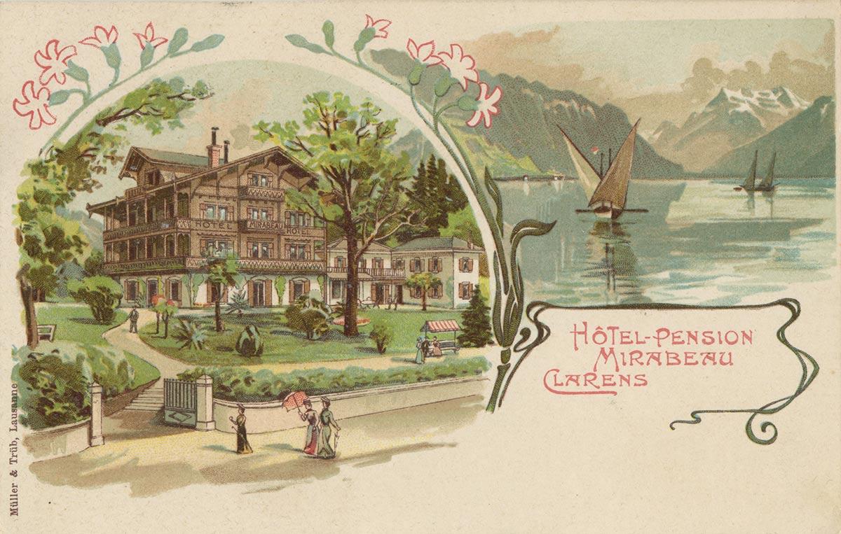 Hôtel du Parc et du Lac, Montreux. © Müller & Trüb, Lausanne, carte datée de 1903