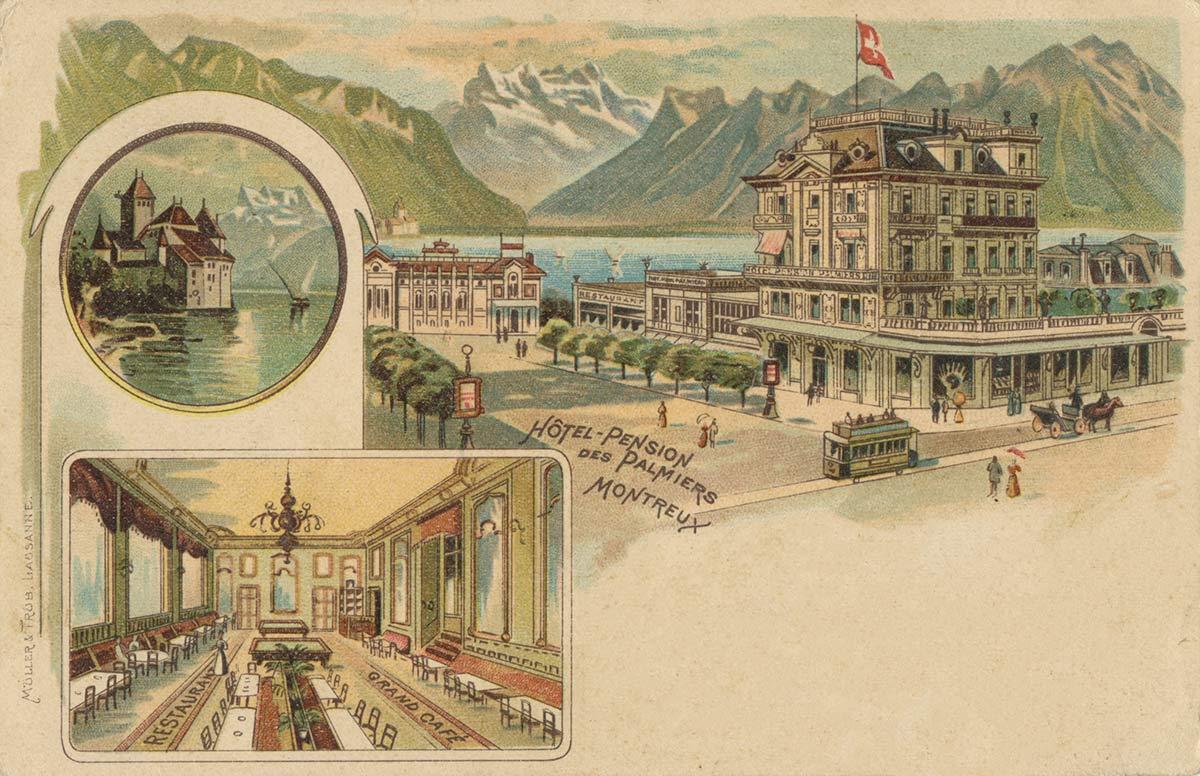 Hôtel - Pension des Palmiers - Montreux. © Müller & Trub, Lausanne, carte datée de 1901