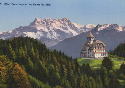 Hôtel de Sonloup et les Dents du Midi. © Phototypie Co., Neuchâtel