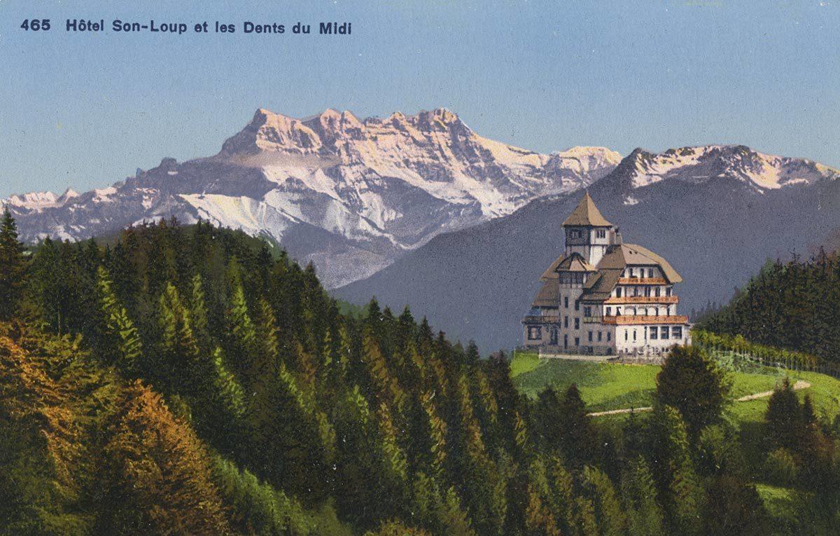 Hôtel de Son-Loup et les Dents du Midi. © Phototypie Co., Neuchâtel