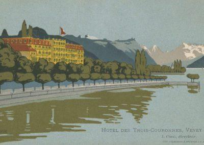 Hôtel des Trois-Couronnes, Vevey. © Lith. Sauberlin & Pfeiffer S.A. Vevey