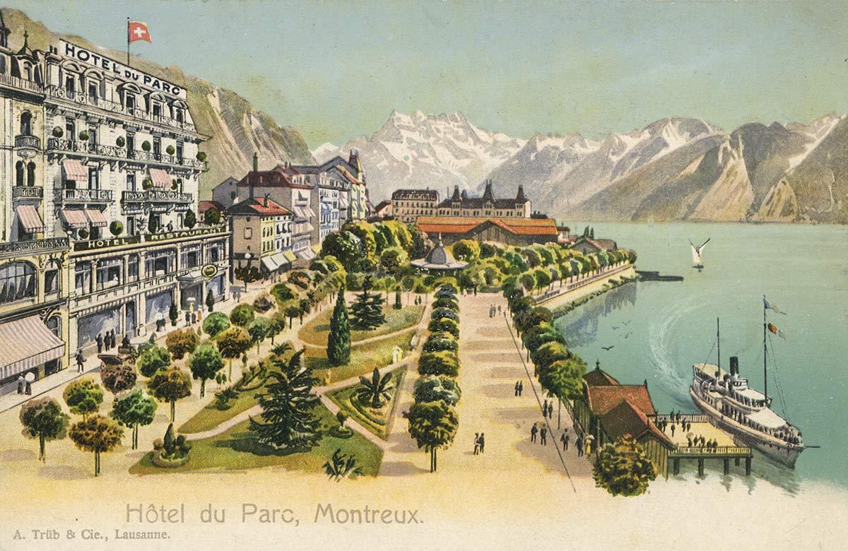 Hôtel du Parc, Montreux. © A. Trüb & Cie., Lausanne, carte datée de 1916