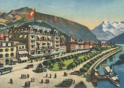 Hotel Splendid et Tonhalle, Montreux, carte datée de 1926