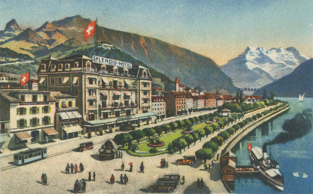 Hôtel Splendid et Tonhalle, Montreux. Carte datée de 1926