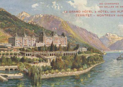 Le Grand Hôtel & Hôtel des Alpes, Territet - Montreux (Suisse). © Richter & Co., Napoli, carte datée de 1910