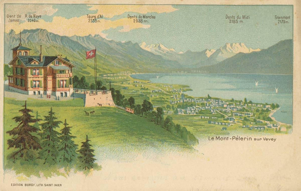 Le Mont-Pélerin sur Vevey. © Edition Burgy Lith. Saint Imier, carte datée de 1902