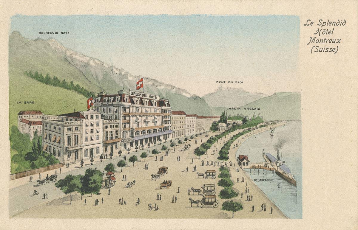 Le Splendid Hôtel - Montreux (Suisse). Carte datée de 1906