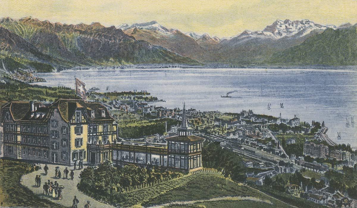 Mont Pélerin sur Vevey, Hôtel des Alpes. © Artist. Atelier H. Guggenheim & Co., Editeurs, Zürich, carte datée de 1907