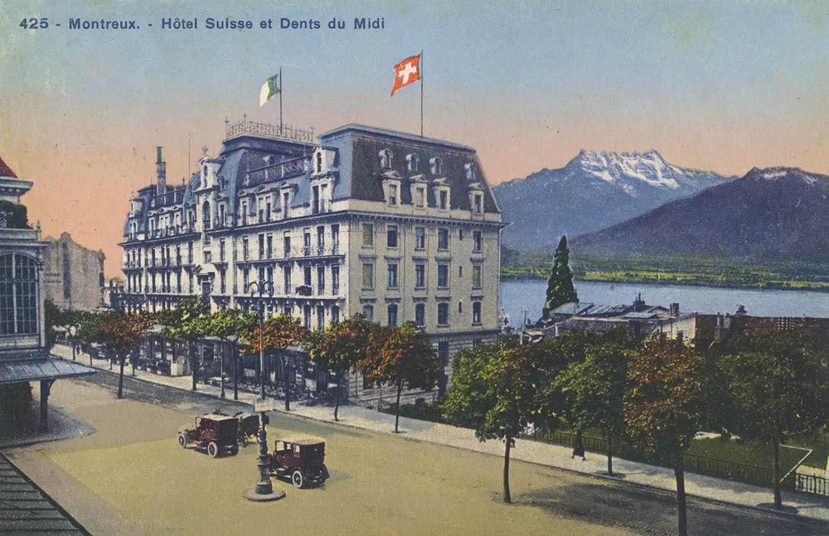 Montreux - Hôtel Suisse et Dents du Midi. © Société Graphique Neuchâtel, carte datée de 1925