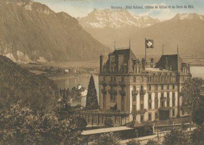 Montreux - Hôtel National, Château de Chillon et les Dents du Midi, carte datée de 1914