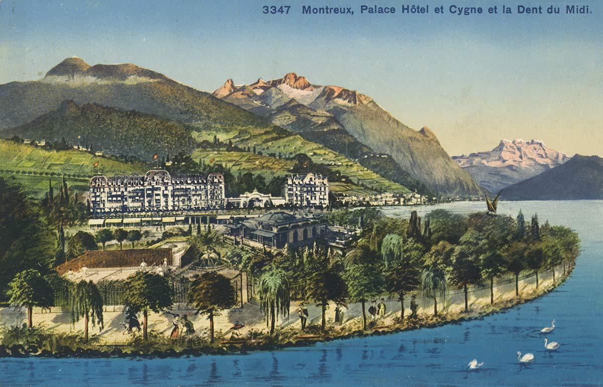 Montreux, Palace Hôtel et Cygne et la Dent du Midi. © Wehrli & G. Kilchberg-Zürich, carte datée de 1925