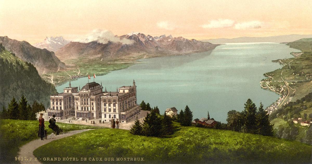 Grand Hôtel de Caux sur Montreux. © Edition Photoglob, Zürich