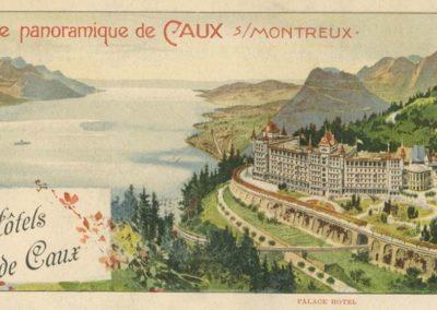 Vue panoramique de Caux sur Montreux. Souvenir des Grands Hôtels de Caux