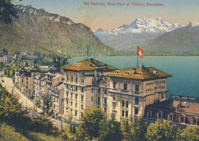 Territet. Bon-Port et l'Hôtel Excelsior. © Phototypie Co., Neuchâtel