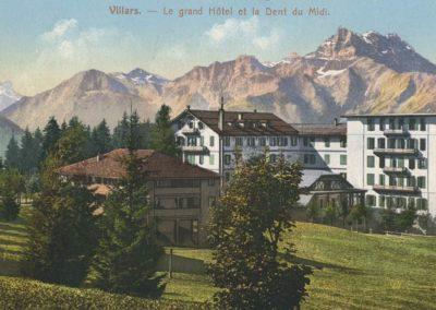 Villars - Le Grand Hôtel et la Dent du Midi. © E. Rossier, Nyon, carte datée de 1913
