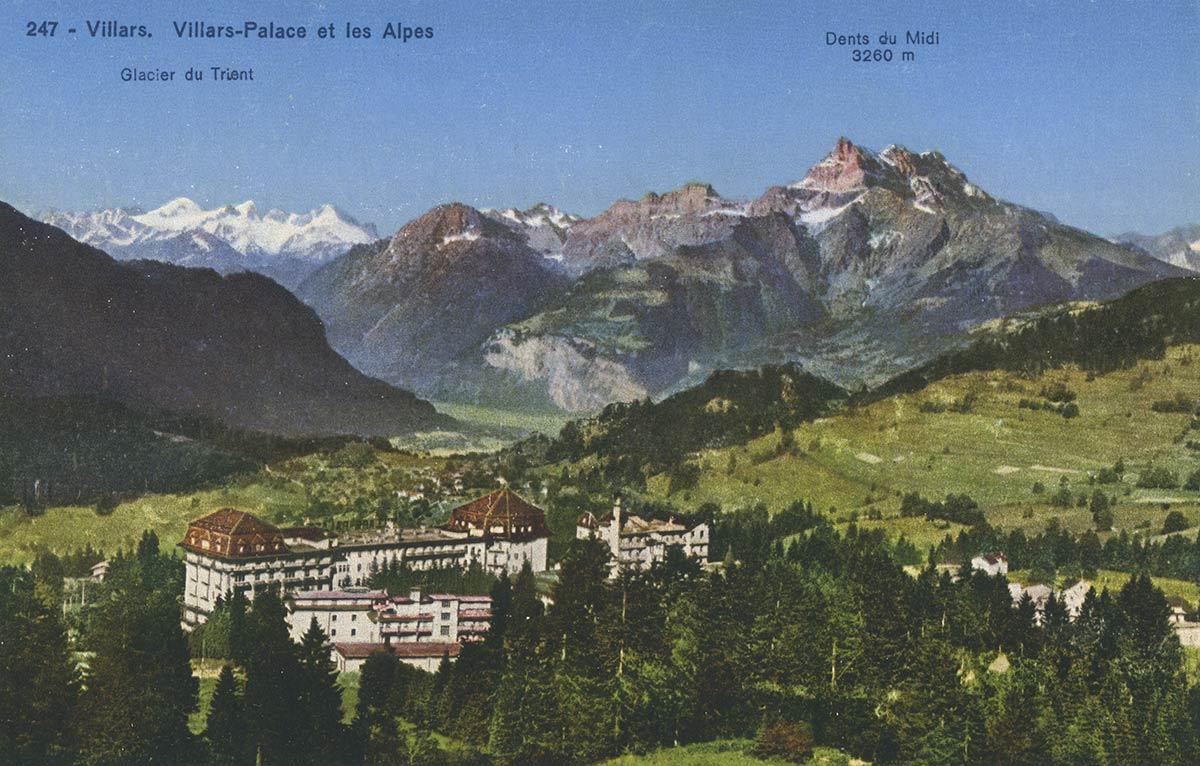 Villars. Villars-Palace et les Alpes. © Société Graphique Neuchâtel
