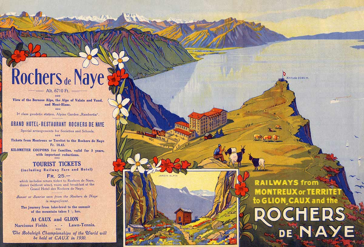 RAILWAYS from MONTREUX or TERRITET to GLION, CAUX and the ROCHERS DE NAYE