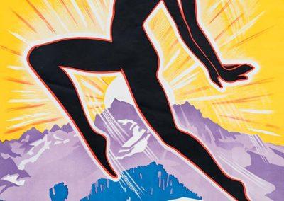 Leysin. Traitement de la tuberculose sous toutes ses formes. Cures de repos et de convalescences. Automotrices rapides, Aigle-Leysin, vers 1930. Jacomo Müller (1897-1960), lithographie, Marci, Bruxelles, 100 x 61,5cm. Collection privée