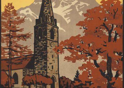 Bex-les-Bains. Vallée du Rhône, Suisse. Bains salins. Station climatérique, 1925. Jules Courvoisier (1884-1936), lithographie couleur 99 x 65cm. Réf. SNL_TOUR_393, Graphische Sammlung NB / BN / NL (BE)