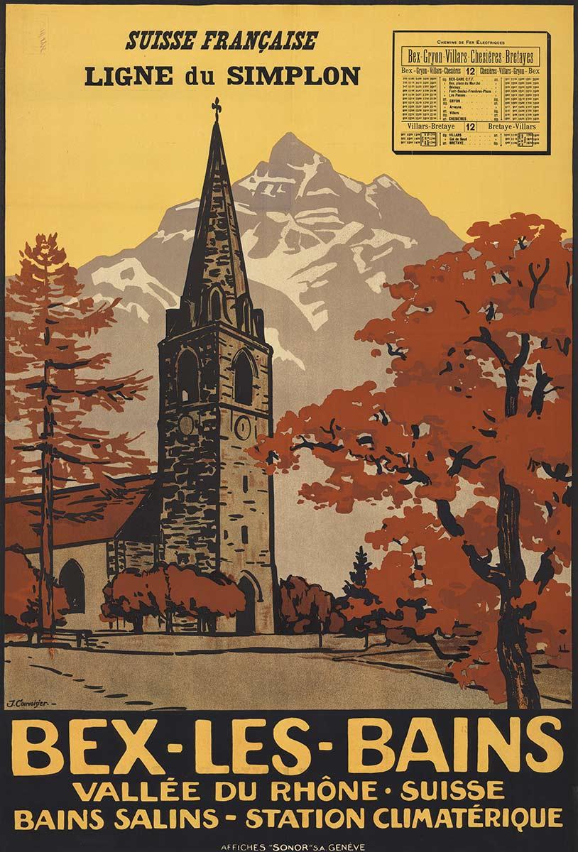 """Bex-les-Bains. Vallée du Rhône Suisse - Bains salins station climatérique, 1915. Lithographie couleur 99 x 65cm. Jules Courvoisier (1884 - 1936), affiches """"SONOR"""" S.A. Genève. CFF Historic, CC0, https://commons.wikimedia.org"""