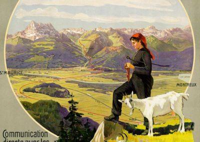 Ch. de fer électrique Monthey-Champéry-Morgins, Valais, Suisse, 1908. Anton Reckziegel (1865-1936), lithographie couleur par Hubacher & Co S.A. Berne, 103 x 70cm. Réf. BCV Ca-206, médiathèque du Valais-Sion
