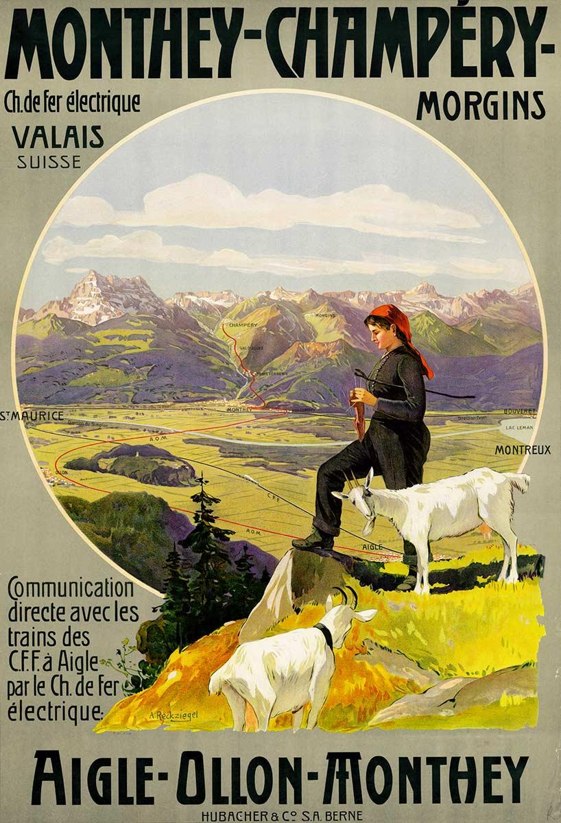 Chemin de fer électrique Monthey-Champéry-Morgins, Valais, Suisse, 1908. Lithographie couleur 103 x 70cm. Anton Reckziegel (1865 - 1936), lithographie Hubacher & Co S.A. Berne. Réf. BCV Ca 206, médiathèque du Valais-Sion