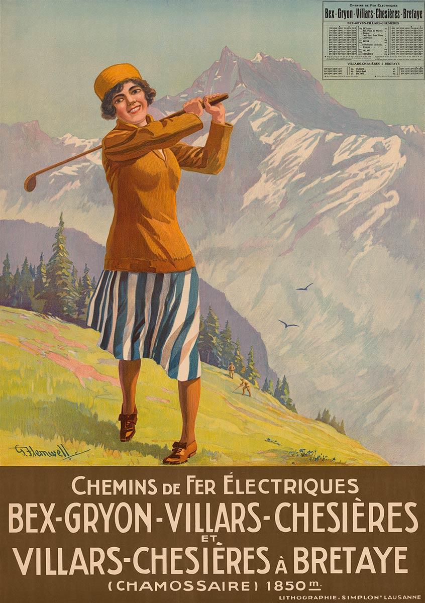 Chemins de fer électriques Bex-Gryon-Villars-Chesières et Villars-Chesières à Bretaye, 1923. George Flemwell (1865 - 1958). CFF Historic, CC0, https://commons.wikimedia.org