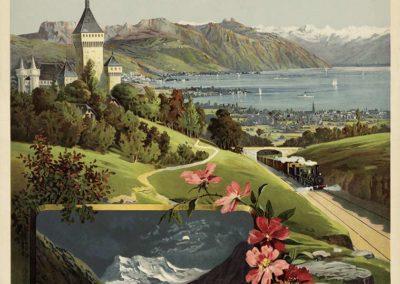 Chemins de fer Jura-Simplon, Lac Léman, 1895. F. Hugo d'Alési (1849-1906), affiche simili-aquarelle, ateliers F. Hugo d'Alési, 5, Place Pigalle Paris, 106 x 75cm. Réf. BCV Ca-111, médiathèque du Valais-Sion