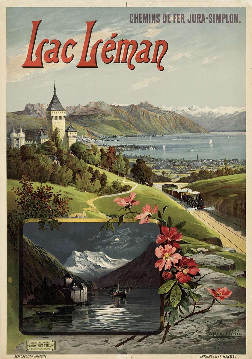 Chemins de fer Jura-Simplon, Lac Léman, 1895. Affiche simili-aquarelle 106 x 75cm. F. Hugo d'Alési (1849 - 1906),  ateliers F. Hugo d'Alési, 5, Place Pigalle Paris. Réf. BCV Ca 111, médiathèque du Valais-Sion