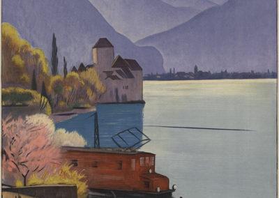 Die elektrische Simplonlinie, Schweiz, 1928. Emil Cardinaux (1877-1936), Publizitätsdienst der schweizerischen Bundesbahnen, lithographie couleur 102,5 x 64 cm. Réf. BCV Ca-194, médiathèque du Valais-Sion