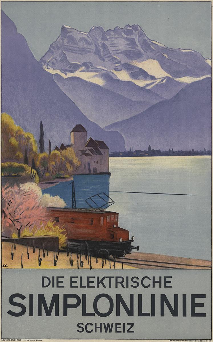 Die elektrische Simplonlinie, Schweiz, 1928. Lithographie couleur 102,5 x 64 cm. Emil Cardinaux (1877 - 1936). Réf. BCV Ca 194, médiathèque du Valais-Sion