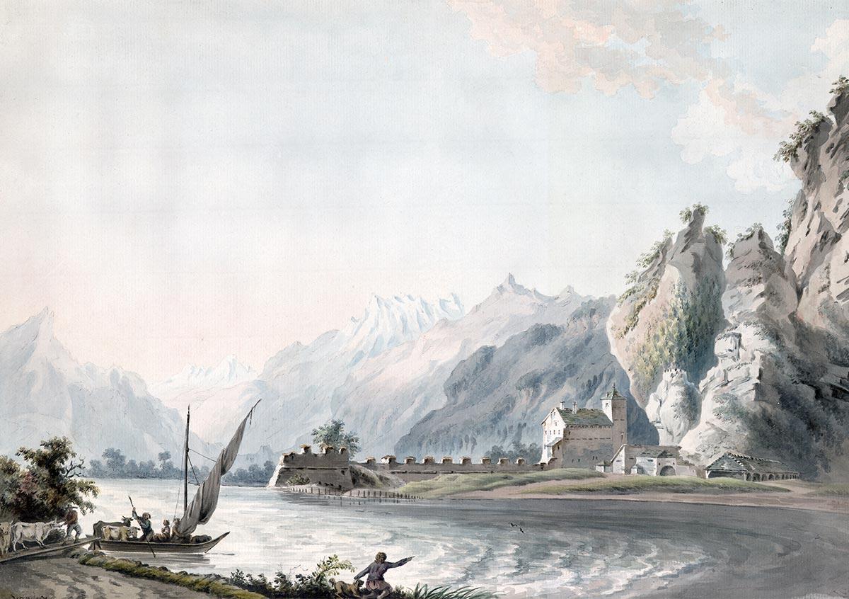 Michel-Vincent Brandoin (1733-1790), « La porte du Scex », aquarelle non datée, localisation inconnue