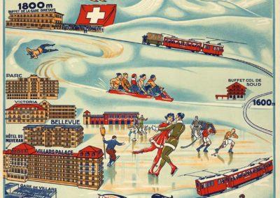 Villars-Bretaye, correspondance CFF en gare de Bex. Affiches 'SONOR' S.A. Genève. Réf. P_A05_0007fr, CFF-Historic