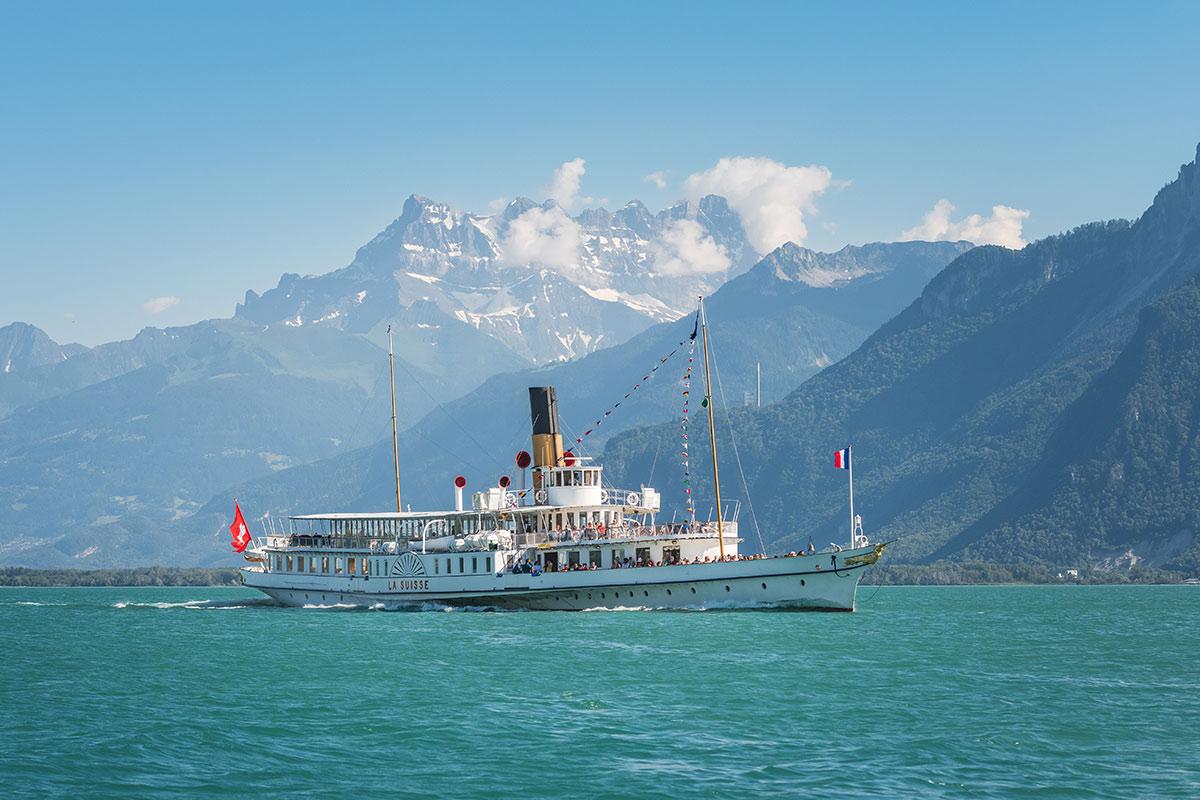 «La Suisse» est un des huit navires de la flotte «Belle Époque» de la Compagnie Générale de Navigation voguant sur le lac Léman. © Diego Salvadore