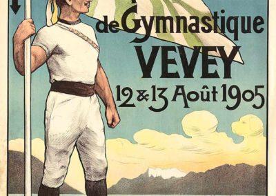 Fête cantonale vaudoise de gymnastique, Vevey, 12 & 13 août 1905. Philippe Serex (1871-1935), lithographie couleur Klausfelder, Vevey, 110,5 x 81,5cm. Réf. Ca-890, Bibliothèque de Genève