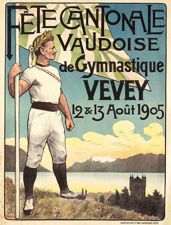 Fête Cantonale Vaudoise de Gymnastique, Vevey, 12 & 13 août 1905. Lithographie couleur 110,5 x 81,5cm. Philippe Serex (1871 - 1935), lithographie couleur Klausfelder, Vevey. Réf. Ca 890, bibliothèque de Genève