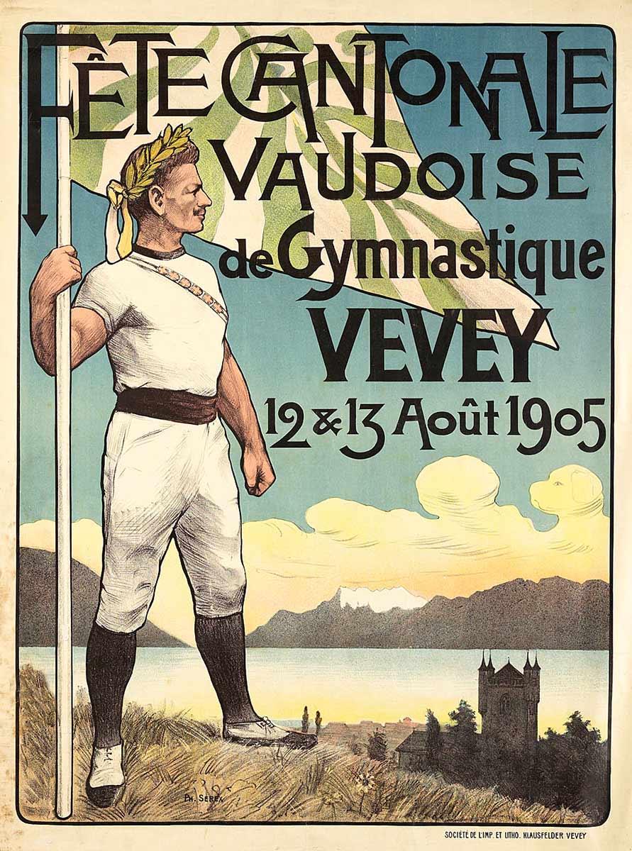 Les Dents-du-Midi dans les affiches. Fête cantonale vaudoise de gymnastique, Vevey, 12 & 13 août 1905. Philippe Serex, lithographie couleur Klausfelder, Vevey, 110,5 x 81,5cm.
