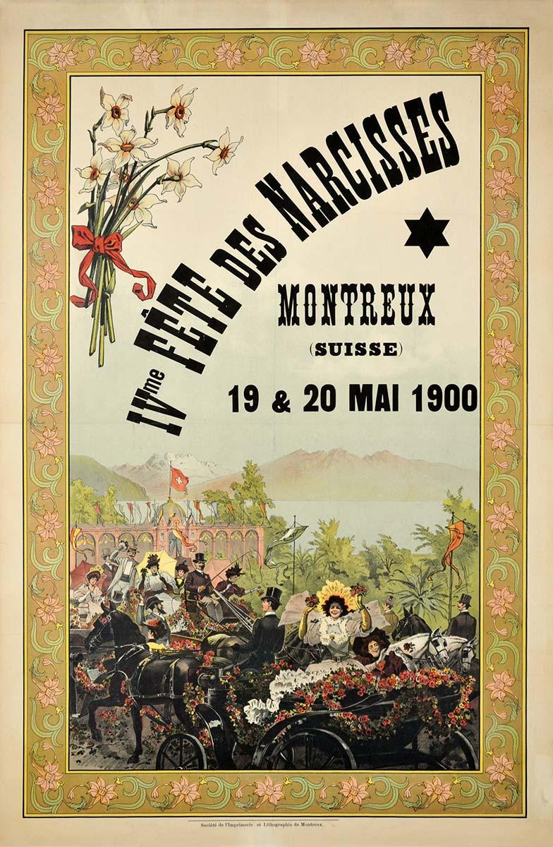 Fête des narcisses, Montreux (Suisse), 19 & 20 mai 1900. Lithographie couleur 102 x 68cm. © Tous droits réservés, auteur anonyme, Société de l'Imprimerie et Lithographie de Montreux. Galerie 1 2 3 Genève, www.galerie123.com