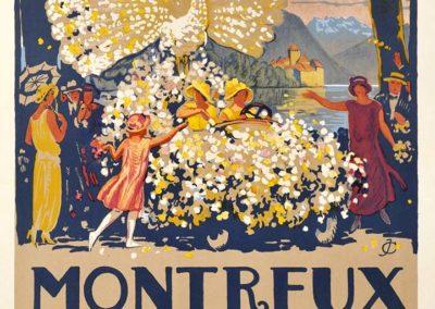 Montreux, Fête des Narcisses 1924. Jules Courvoisier (1884-1936), affiches SONOR S.A. Genève. Lithographie couleur 123 x 74cm. Galerie 1 2 3, Genève. www.galerie123.ch