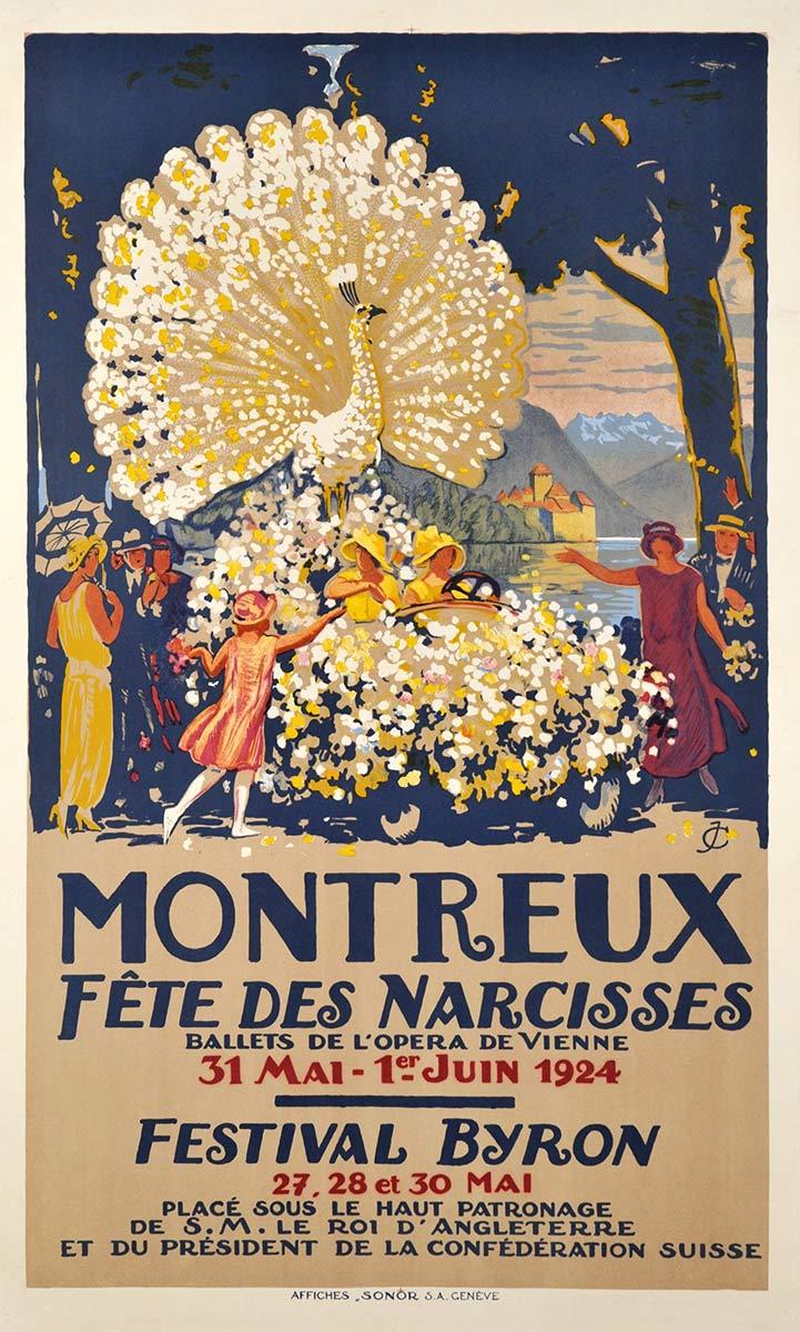 Montreux, Fête des Narcisses 1924. Lithographie couleur 123 x 74cm. Jules Courvoisier (1884 - 1936), affiches SONOR S.A. Genève. Galerie 1 2 3 Genève, www.galerie123.com