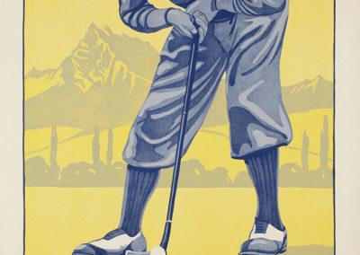 Montreux Golf Course, Aigle. 18 trous, ouvert toute l'année, 1933. Félix Kalbfuss (1856-1940), lithographie A. Marsens, Lausanne. Lithographie 100 x 65cm. Galerie 1 2 3, Genève. www.galerie123.ch
