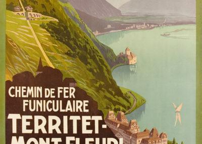 Territet-Mont-Fleuri, Chemin de fer funiculaire, 1905. © Tous droits réservés, auteur anonyme, imprimerie Corbaz S.A. Montreux. Lithographie couleur 99 x 69cm. Galerie1 2 3, Genève. www.galerie123.ch