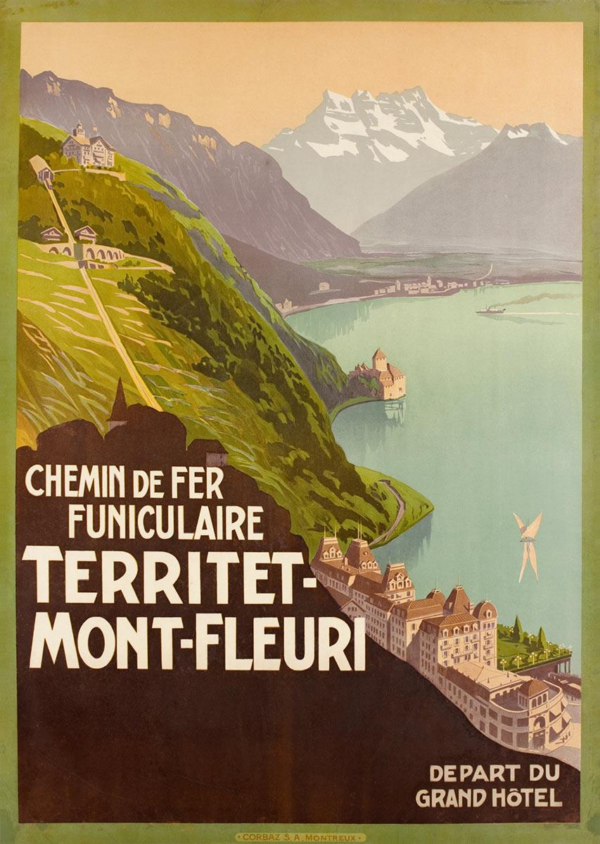 Chemin de fer funiculaire Territet Mont-Fleuri, 1905. Lithographie couleur 99 x 69cm. © Tous droits réservés, auteur anonyme, imprimerie Corbaz S.A. Montreux. Galerie 1 2 3 Genève, www.galerie123.com