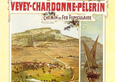 Vevey-Chardonne-Pélerin, Chemin de fer funiculaire, 1900. Anton Reckziegel (1865-1936), lithographie couleur Kunstanstalt Hubacher, Bern. Réf. Ca-1060, Bibliothèque de Genève