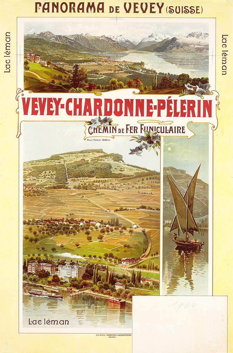 Vevey-Chardonne-Pélerin. Chemin de fer funiculaire, 1900. Lithographie couleur 89,5 x 59,5 cm. Anton Reckziegel (1865 - 1936), lithographie Kunstanstalt Hubacher, Bern. Réf. Ca 1060, bibliothèque de Genève