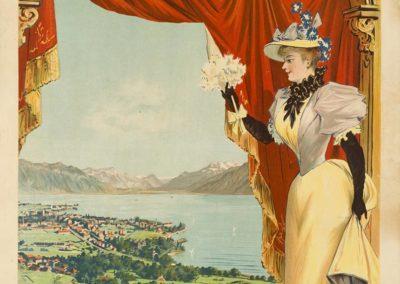 Vevey, station climatérique, 1897. Dreyma, Frey & Conrad, Zürich. Lithographie couleur 100 x 69cm. Galerie 123, Genève. www.galerie123.ch