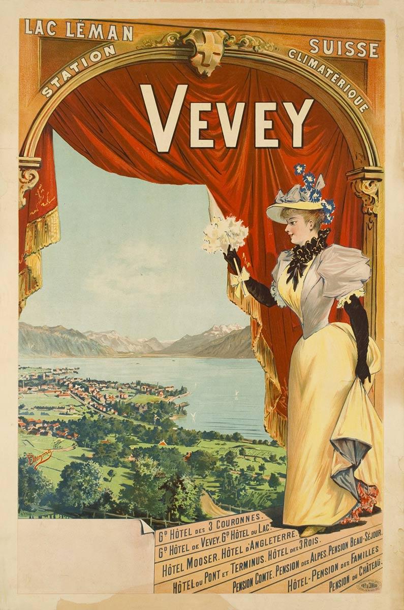 Vevey, station climatérique, 1897. Lithographie couleur 100 x 69cm. © Tous droits réservés, Dreyma, lithographie Frey & Conrad, Zürich. Galerie 1 2 3 Genève, www.galerie123.com